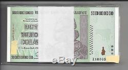 100X 50 TRILLION ZIMBABWE ZA DOLLAR BUNDLE, Replacement MONEY. UNC10 20Currency