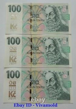 100 Korun 2019 and additional CNB 100 years Czech currency / 3 pieces UNC RARE