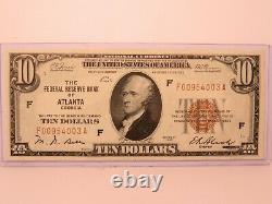 $10 1929 ATLANTA GEORGIA National Currency Bank Note Bill GEM/UNC