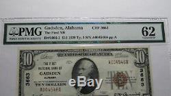 $10 1929 Gadsden Alabama AL National Currency Bank Note Bill Ch. #3663 Unc62 PMG