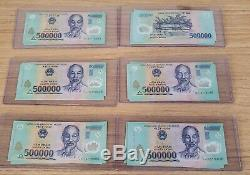 10 Million Dong = (20) 500000 Vietnam Polymer Currency Banknotes. UNC NOTES