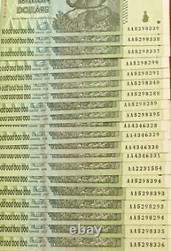 10 x 10 TRILLION DOLLAR UNC ZIMBABWE BANKNOTES = 100 TRILLION 2008 ZIM CURRENCY