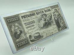 1854 $3 Potomac River Bank Georgetown, D. C. Obsolete Currency Note Unc