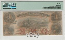 1857 $1 Western Exchange Omaha Nebraska Obsolete Currency Pmg About Unc 55