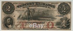 1857 $2 Western Exchange Omaha Nebraska Obsolete Currency Pmg About Unc 50