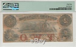 1857 $2 Western Exchange Omaha Nebraska Obsolete Currency Pmg About Unc 53