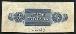 1857 $3 The Citizens Bank Of Gosport Indiana Obsolete Currency Note About Unc