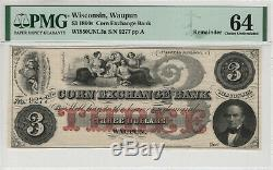 1860 $3 Corn Exchange Bank Wapun Wisconsin Obsolete Currency Pmg Choice Unc 64