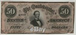 1864 $50 T-66 Confederate States of America Note Currency PMG UNC 62 EPQ