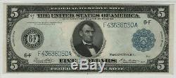 1914 $5 Federal Reserve Note Currency Atlanta FR. 867a PMG Certified About UNC 55