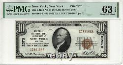 1929 $10 Chase National Banknote Currency New York Ny Pmg Choice Unc 63 Epq