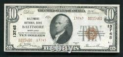 1929 $10 Tyii Baltimore Nb Baltimore, MD National Currency Ch. #13745 Unc