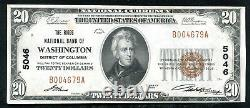 1929 $20 The Riggs Nb Of Washington, D. C. National Currency Ch #5046 Unc (l)