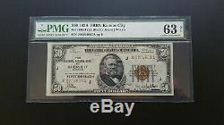 1929 $50 National Currency Kansas City Pmg 63 Choice Unc