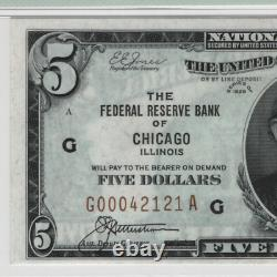 1929 $5 Federal Reserve Banknote Currency Fr. 1850-G Chicago PMG Choice UNC 64