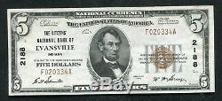 1929 $5 The Citizens Nb Of Evansville, In National Currency Ch. #2188 About Unc