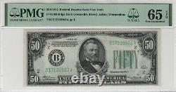 1934 $50 Federal Reserve Note Currency Fr. 2102-bdgs Ba Block Pmg Gem Unc 65 Epq