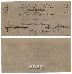 1942 PHILIPPINE Culion Leper Colony 1 Peso Emergency Currency Bank Note S245 UNC