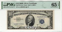 1953 B $10 Silver Certificate Note Currency Fr. 1708 AA Block PMG GEM UNC 65 EPQ