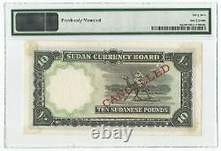 1956 SUDAN CURRENCY BOARD P-5sp SPECIMEN PROOF BANKNOTE 10 POUND PMG 62 UNC