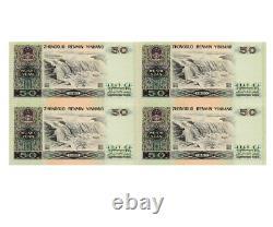 1980 Uncut CHINA 4x 50 YUAN BANKNOTE CURRENCY UNC RMB