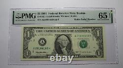 $1 1995 Radar Serial Number Federal Reserve Currency Bank Note Bill PMG UNC65EPQ
