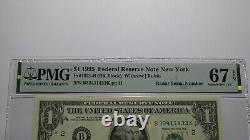 $1 1995 Radar Serial Number Federal Reserve Currency Bank Note Bill PMG UNC67EPQ