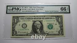 $1 2013 Radar Serial Number Federal Reserve Currency Bank Note Bill PMG UNC66EPQ