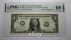 $1 2017 Radar Serial Number Federal Reserve Currency Bank Note Bill PMG UNC68EPQ