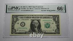 $1 2017 Repeater Serial Number Federal Reserve Currency Bank Note Bill PMG UNC66