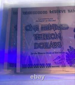 2008 100 TRILLION DOLLARS ZIMBABWE BANKNOTE AA P-91 GEM Unc Note Currency X1