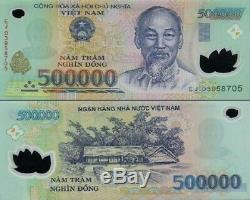 20 Million Dong = (40) 500000 Vietnam Polymer Currency Banknotes UNC