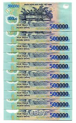 21 MILLION DONG = 42 x 500,000 500000 VIETNAM POLYMER CURRENCY BANKNOTES UNC