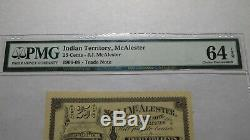 $. 25 McAlester Indian Territory Obsolete Bank Note Bill! UNC64 Oklahoma Currency
