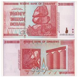 25pcs 2008 Zimbabwe 20 Trillion Dollars Banknote Currency Unc