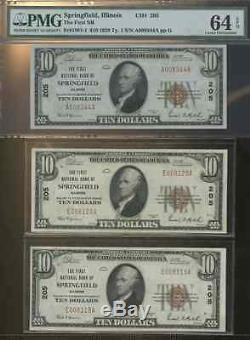 2 Ten Dollar National Currency Banknotes 1929 Unc Seq Springfield IL E008119a-20