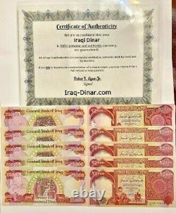 4 x 25,000 IQD = 100,000 IRAQI DINAR UNC BANKNOTES (Iraq Currency) with CoA