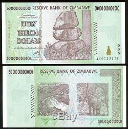 50x 50 TRILLION ZIMBABWE DOLLAR MONEY CURRENCY. UNC USA SELLER