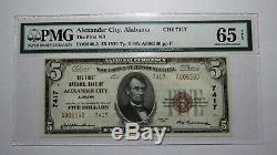 $5 1929 Alexander City Alabama AL National Currency Bank Note Bill! Gem UNC65EPQ