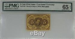 5 Cent First Issue Fractional Currency Fr#1230 Pmg Gem Unc 65 Epq (014)