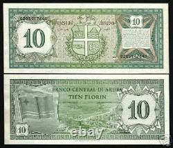 Aruba 10 Florin P2 1986 First Issue Flag Unc Scarce Netherlands Currency Note