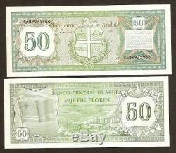 Aruba 50 Florin P4 1986 Netherlands Flag Unc Rare Currency Money Bill Bank Note
