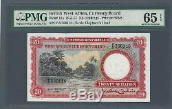 BRITISH WEST AFRICA Currency Board 20 Shillings 1957, P-10a, PMG 65 EPQ Gem UNC