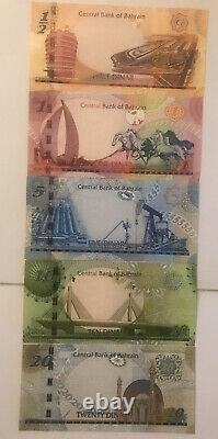 Bahrain 1/2 20 dinars 5 banknote set of 2006 -2008 UNC Currency