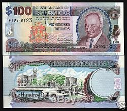 Barbados 100 Dollars P65 2000 Bird Horse Lighthouse Ship Unc Currency Money Note