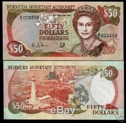 Bermuda $50 P38 1989 Queen Ship Lighthouse Map Unc Banknote Currency