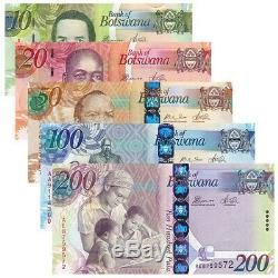 Botswana 5 PCS Banknotes Paper Money 10,20,50,100,200 Pula BWP Real Currency UNC