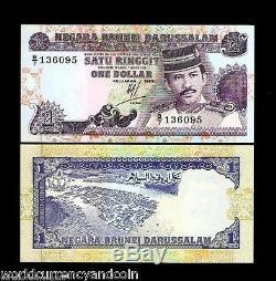 Brunei 1 Ringgit P13 1989 Original Bundle Boat Sultan Unc Currency Bill 100 Note