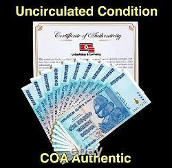 Buy Zimbabwe Currency Zimbabwe 100 Trillion Dollars AA 2008 UNC, COA Included