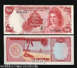 Cayman Islands $10 P7 1974 GB Uk Queen Conch Unc Currency Money Bill Rare Note